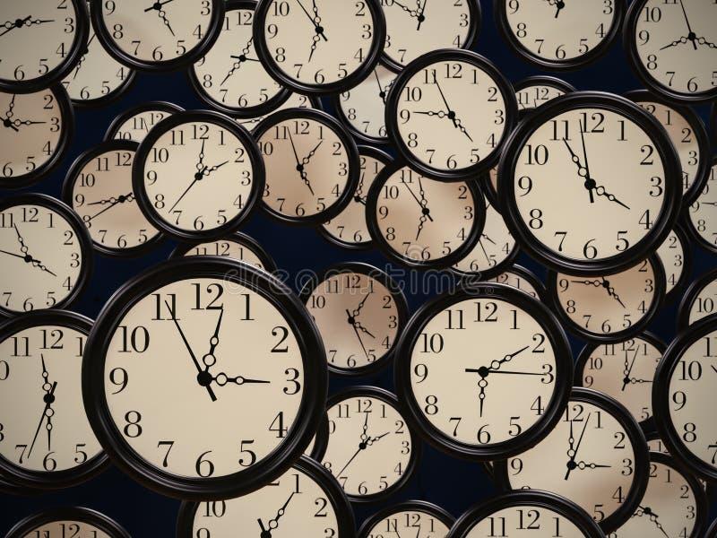 Groupe d'horloges de bureau illustration stock