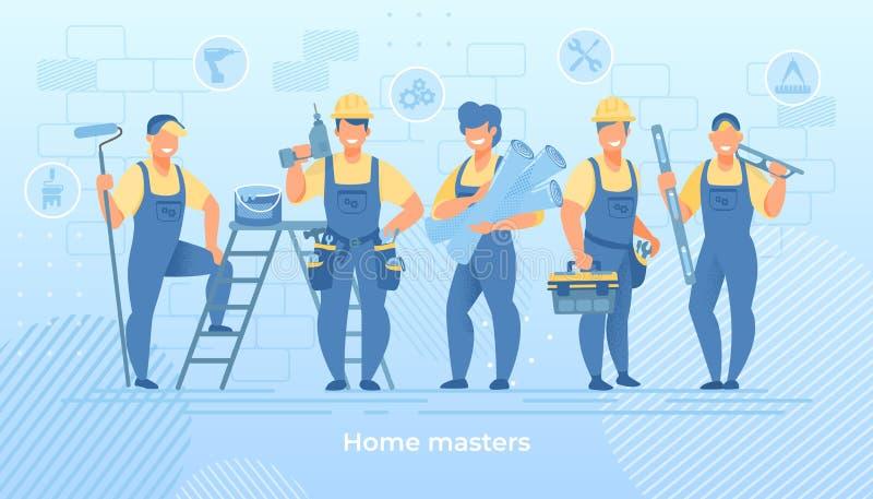 Groupe d'ingénieurs de construction dans la robe longue avec des outils illustration stock