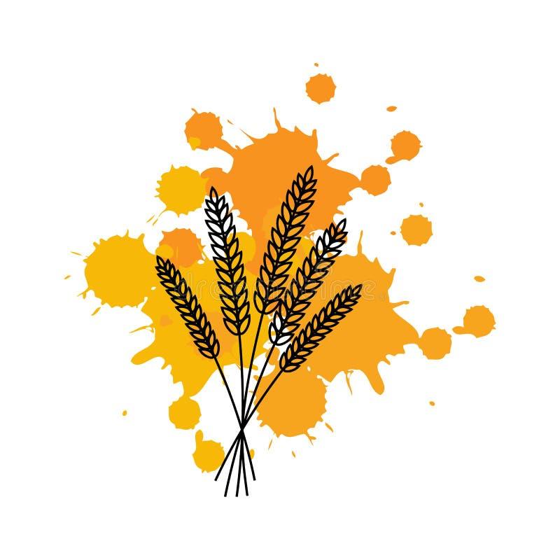 Groupe d'oreilles de blé sur des taches d'encre Illustration de vecteur ligne illustration de vecteur