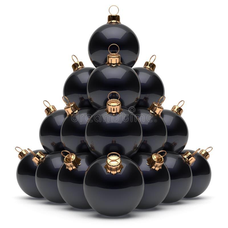 Groupe de babioles de noir du ` s Ève de nouvelle année de pyramide de boules de Noël illustration libre de droits