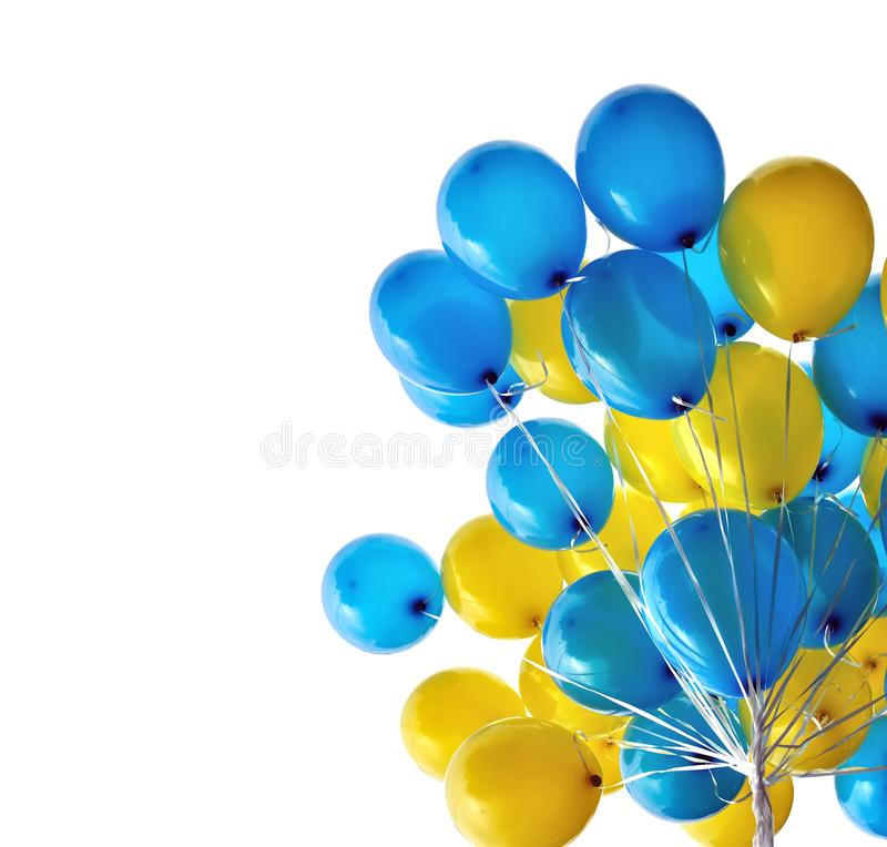Groupe de ballons bleus et jaunes images libres de droits