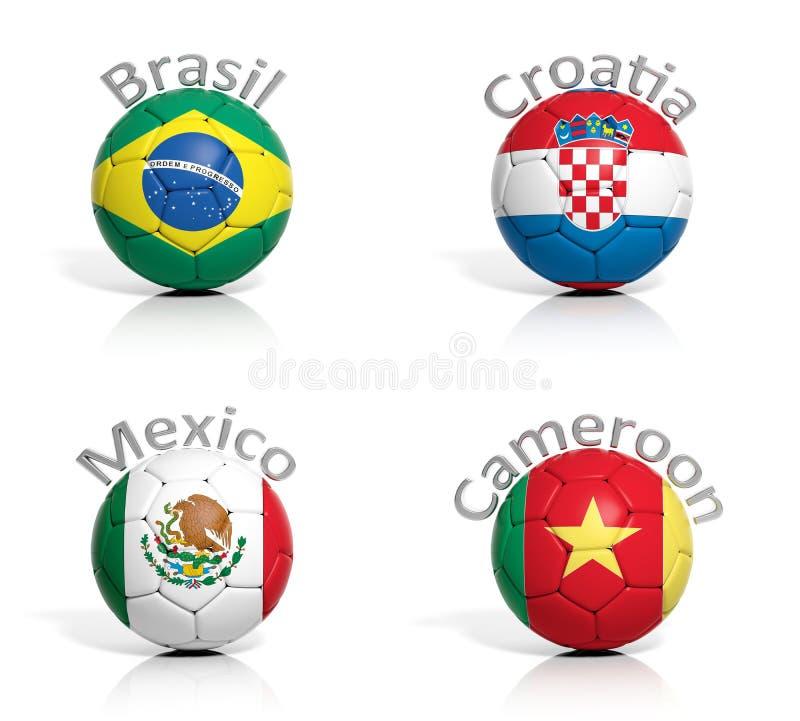Groupe de ballons de football illustration de vecteur