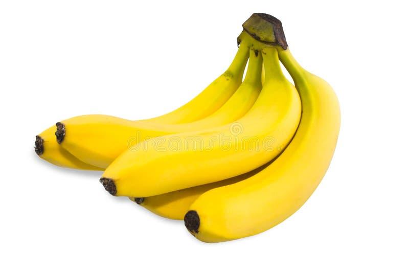 Groupe de bananes jaunes d'isolement sur le fond blanc photographie stock libre de droits