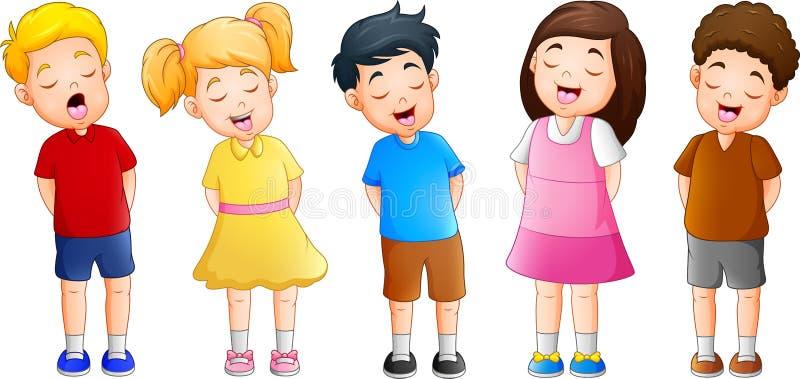 Groupe de bande dessinée d'enfants chantant ensemble illustration stock