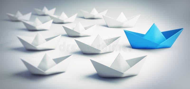 Groupe de bateaux de papier blancs et bleus - illustration 3D illustration de vecteur