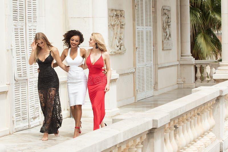 Groupe de belles dames sexy dans des robes élégantes au summe ensoleillé photos libres de droits