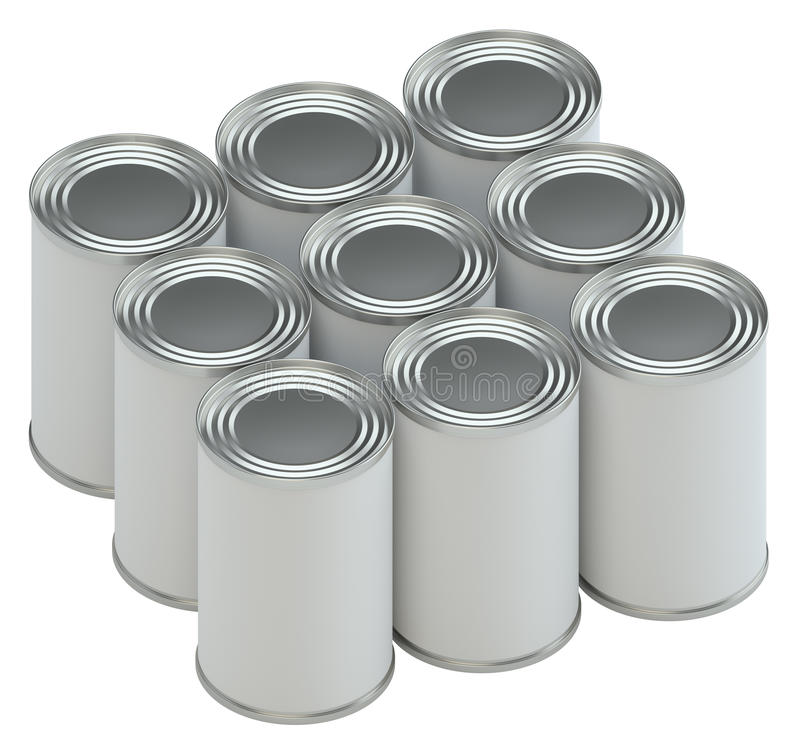 Groupe de boîtes en fer blanc en métal avec des labels de livre blanc illustration de vecteur