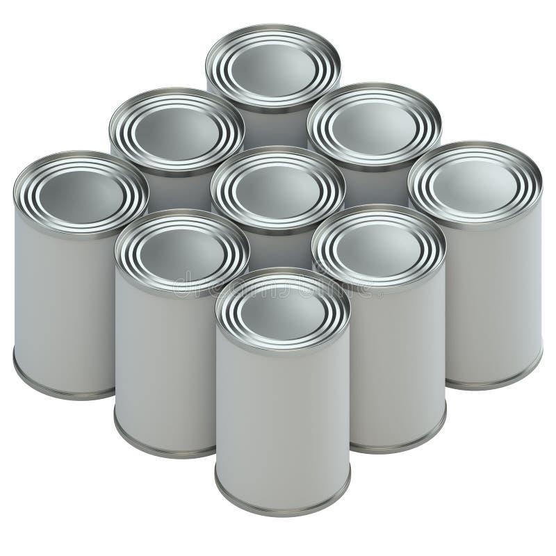 Groupe de boîtes en fer blanc en métal avec des labels de livre blanc illustration libre de droits