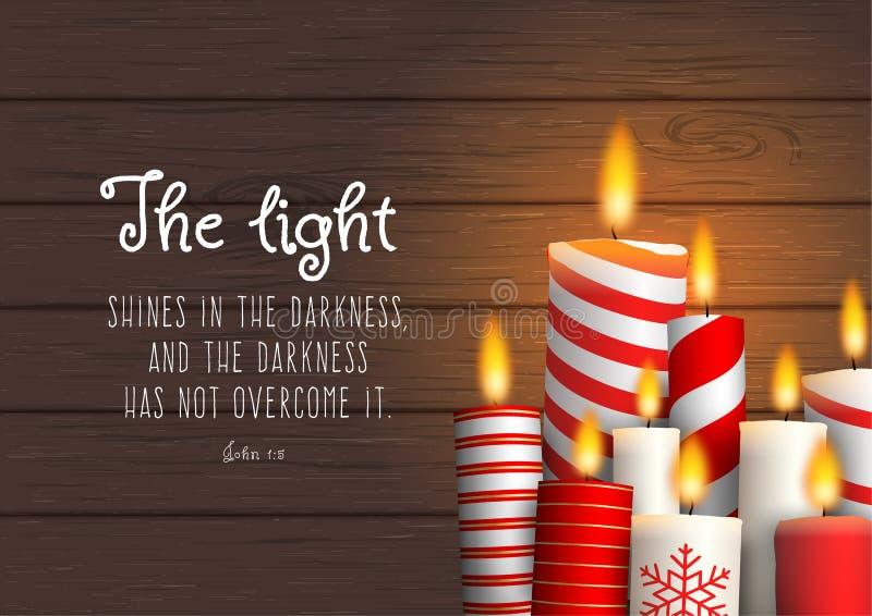 Groupe de bougies de Noël avec la citation biblique illustration libre de droits