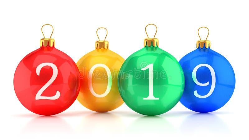 Groupe de boules brillantes colorées de Noël avec des nombres d'isolement sur le fond blanc illustration stock