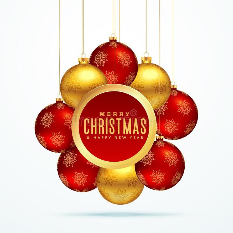 Groupe de boules de luxe d'or de Noël pour la saison de festival illustration stock