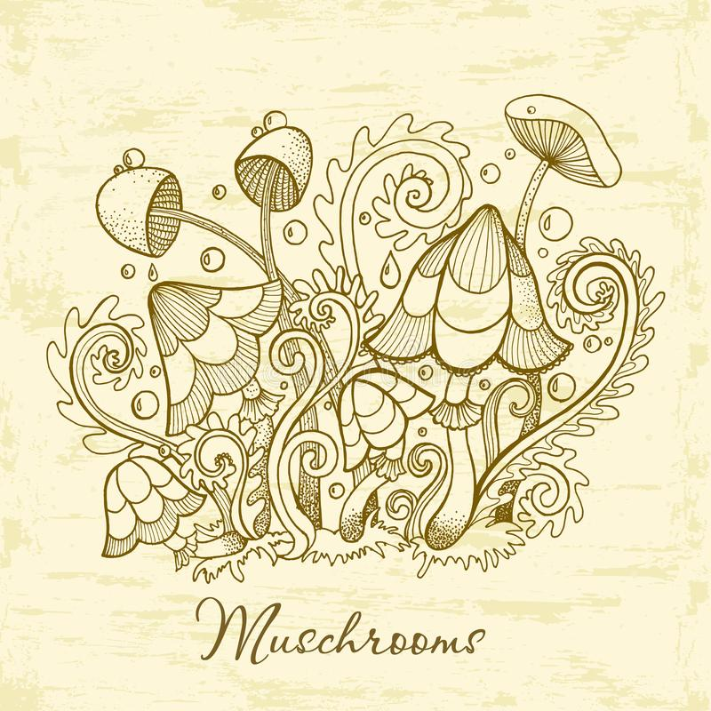 Groupe de champignons décoratifs Illustration mignonne de champignons, collection tirée par la main illustration libre de droits