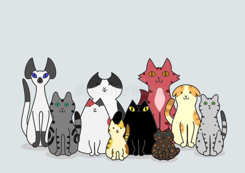 Groupe de chats illustration stock
