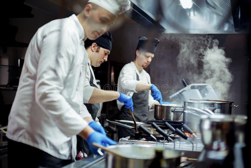 Groupe de chefs travaillant dans la cuisine photo libre de droits