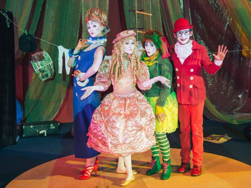 Groupe de clowns dans une image scénique photos libres de droits