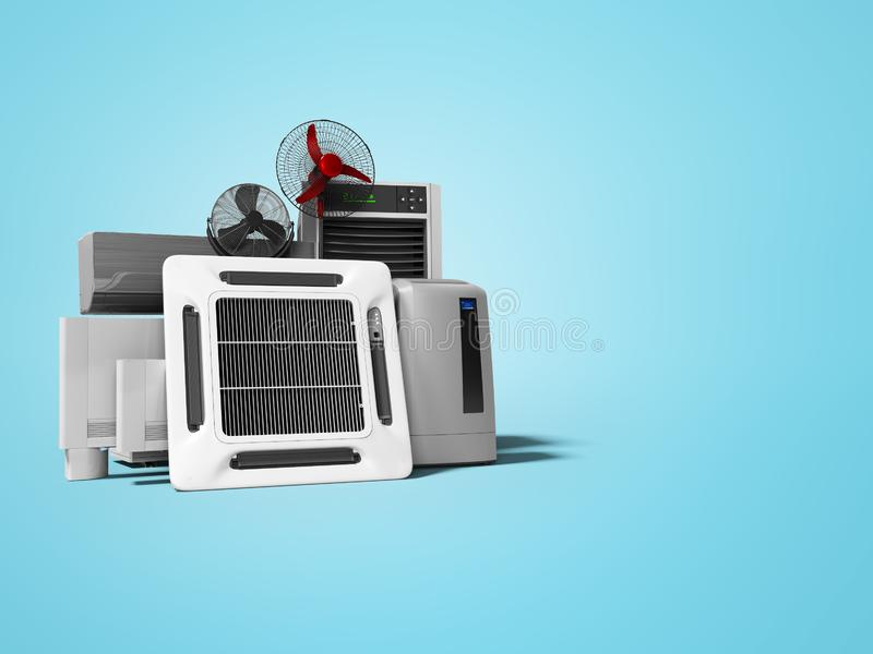 Groupe de concept d'appareils électriques de ventilation pour le renderer de salles et de bureaux 3d de refroidissement sur le fo illustration libre de droits