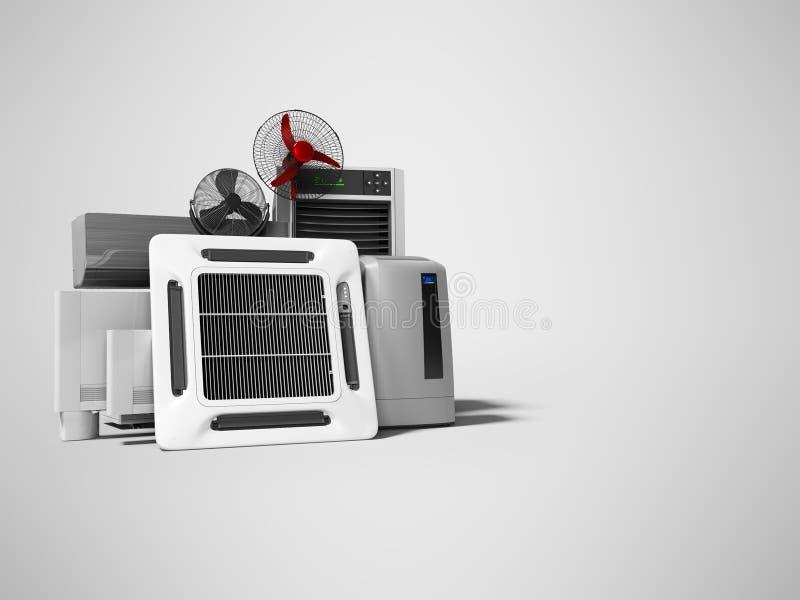 Groupe de concept d'appareils électriques de ventilation pour le renderer de salles et de bureaux 3d de refroidissement sur le fo illustration stock