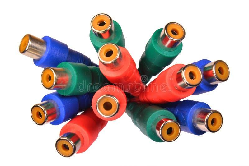 Groupe de connecteurs visuels audio vert-bleu rouges de RCA photographie stock libre de droits