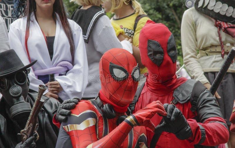 Groupe de Cosplay habillé dans des costumes à la promenade 2019 de Cosplay photos stock