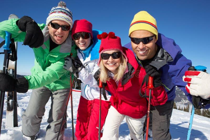 Groupe de couples âgés moyens en fonction en montagnes photo stock