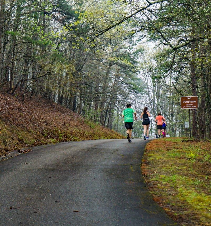 Groupe de coureurs dans le brouillard concurren?ant dans les 2019 Ridge Marathon bleu image libre de droits