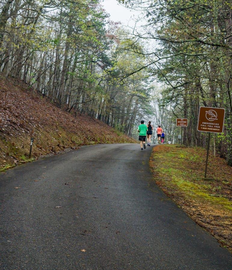 Groupe de coureurs femelles escaladant la montagne de Roanoke images libres de droits