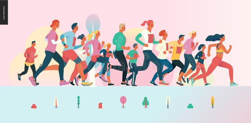 Groupe de course de marathon illustration libre de droits