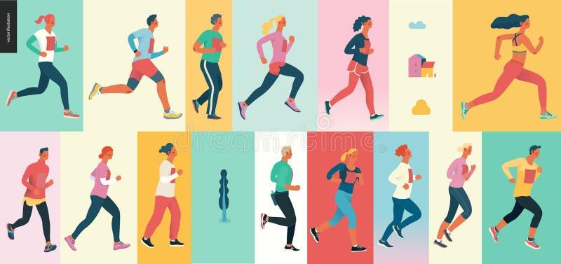 Groupe de course de marathon illustration stock
