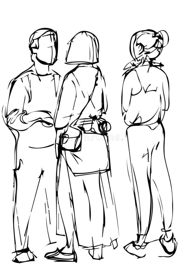 Groupe de croquis des jeunes illustration libre de droits