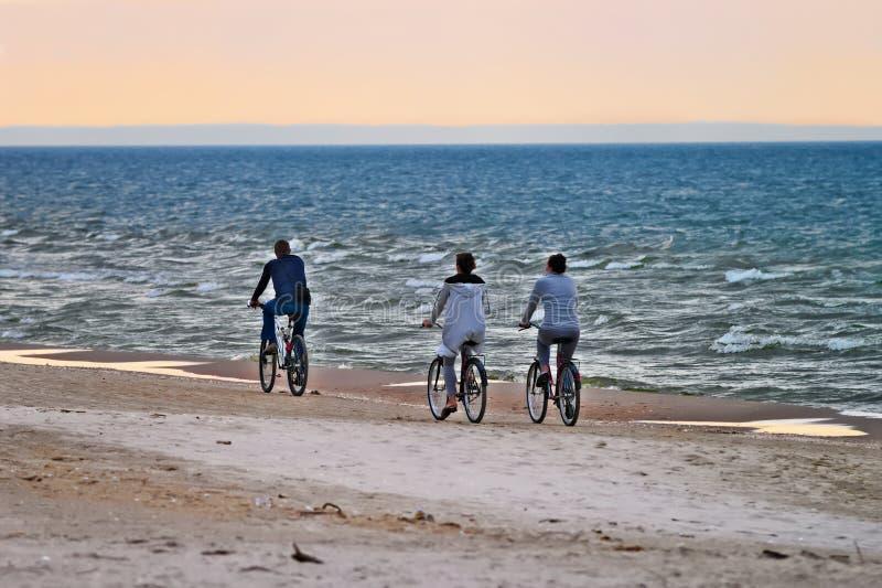 Groupe de cyclistes montant des bicyclettes le long du bord de la mer le soir images stock