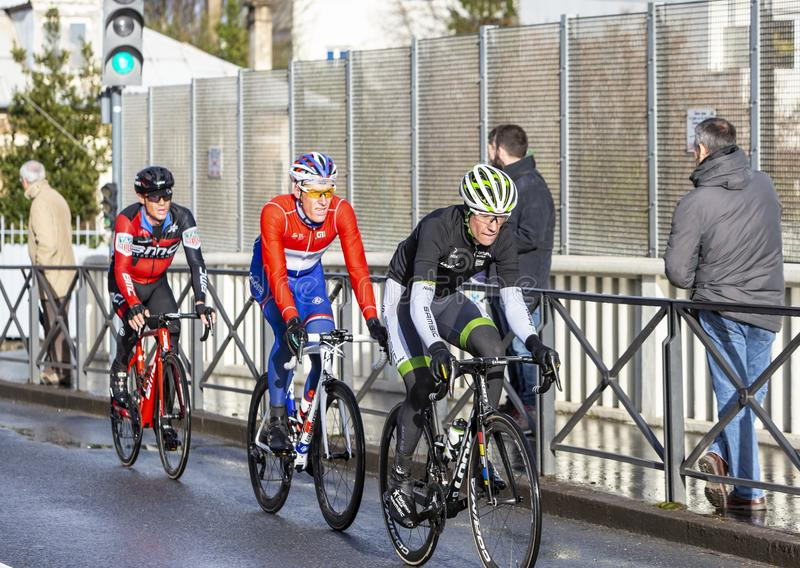Groupe de cyclistes - 2018 Paris-gentil images libres de droits