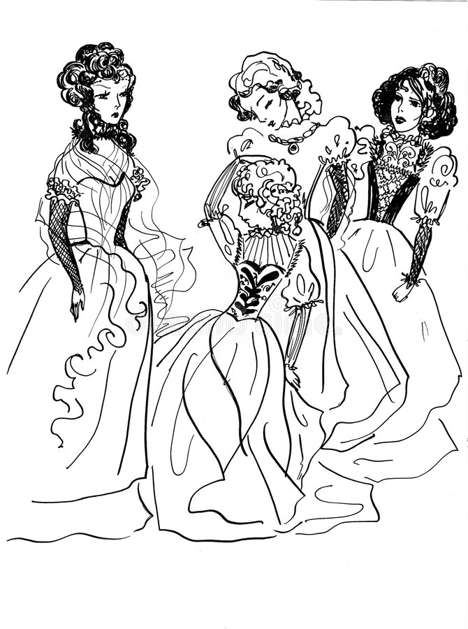 Groupe de dames nobles illustration stock