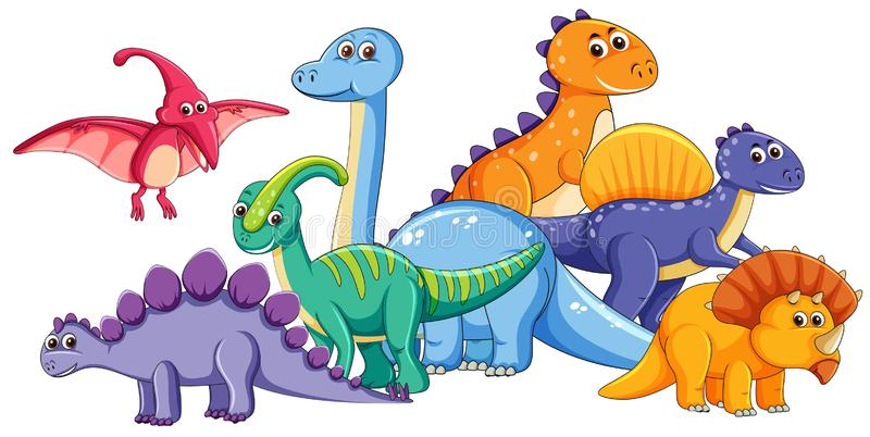 Groupe de dinosaure mignon illustration de vecteur