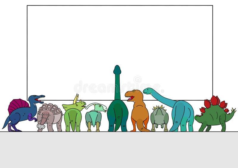 Groupe de dinosaure regardant le conseil blanc illustration de vecteur