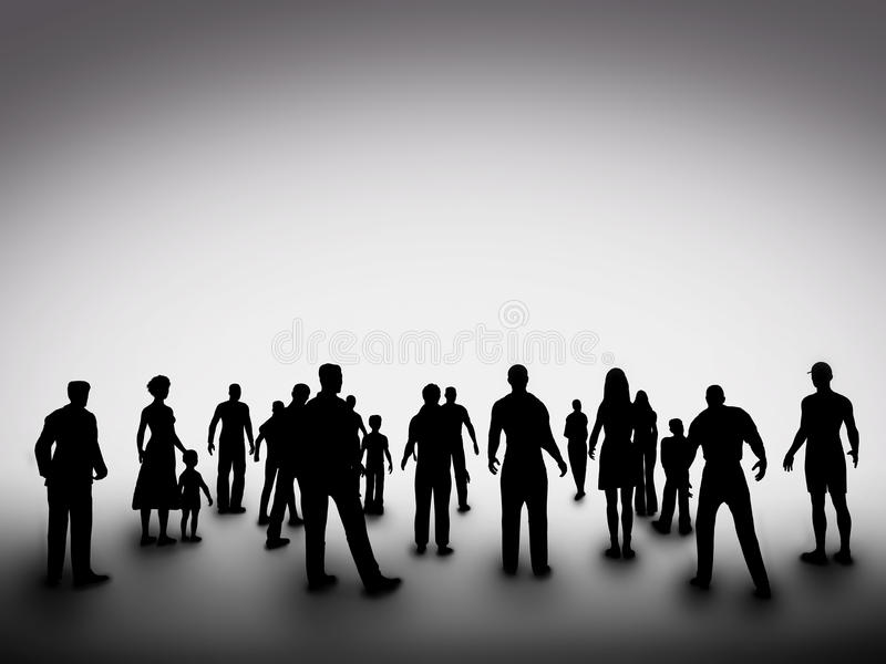Groupe de diverses silhouettes de personnes société photographie stock libre de droits