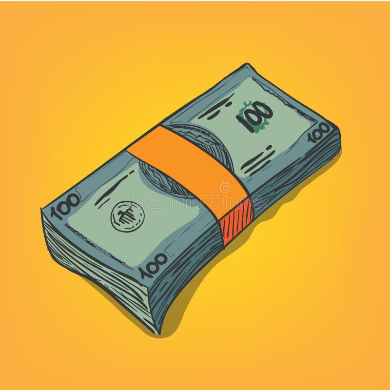 Groupe de factures d'argent illustration stock