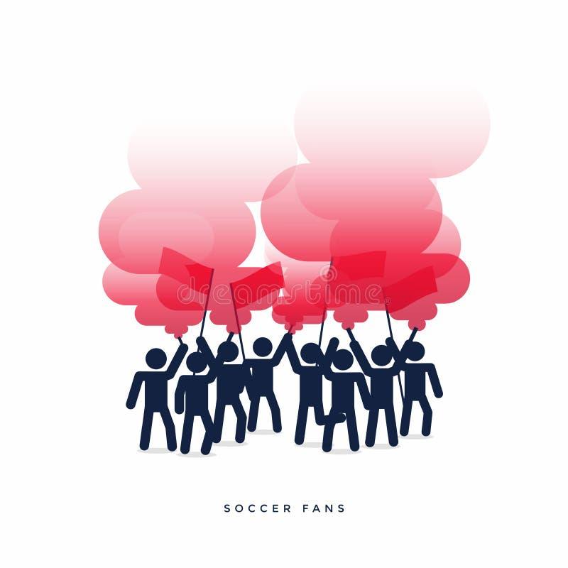 Groupe de fans de foot du football avec brûler la fusée et la fumée rouges illustration libre de droits