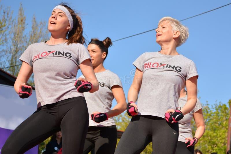 Groupe de femme heureuse pratiquant le sport de Piloxing dans une classe extérieure en été avec l'instructeur photo libre de droits