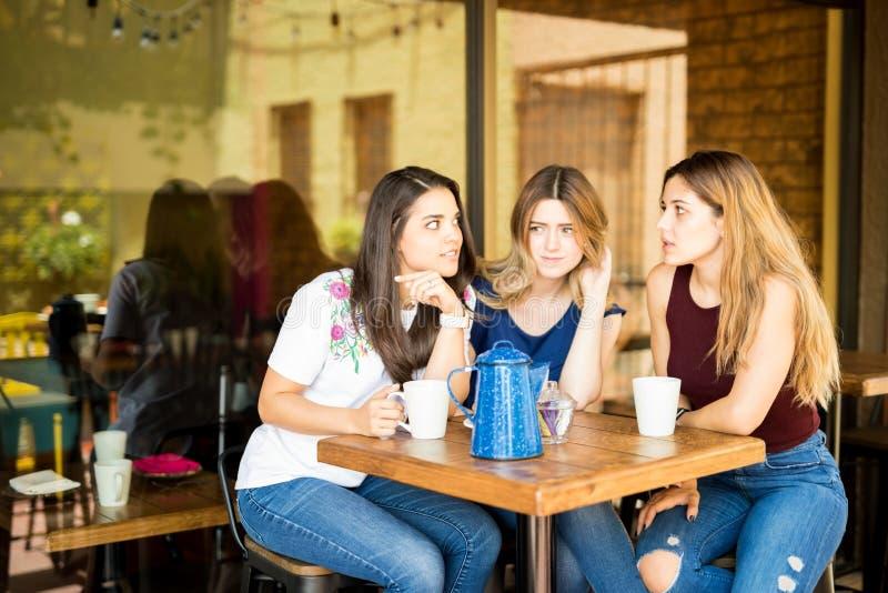 Groupe de femmes bavardant dans un restaurant image libre de droits