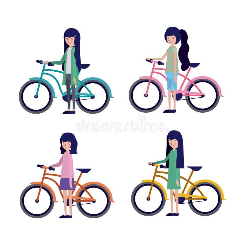 Groupe de femmes dans la bicyclette illustration libre de droits