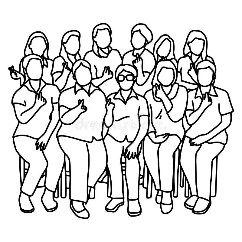 Groupe de femmes montrant le mini griffonnage de croquis d'illustration de vecteur de geste de coeur tiré par la main avec les li illustration de vecteur