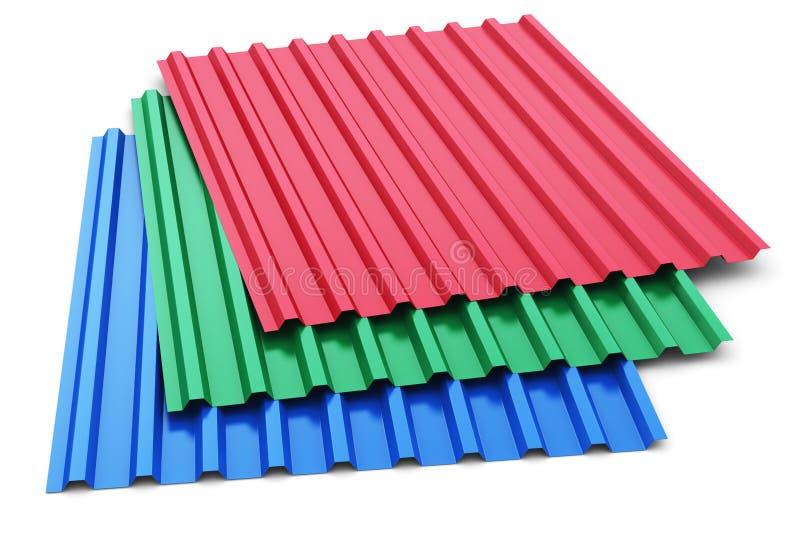 Groupe de feuilles en acier de profil de couleur illustration de vecteur