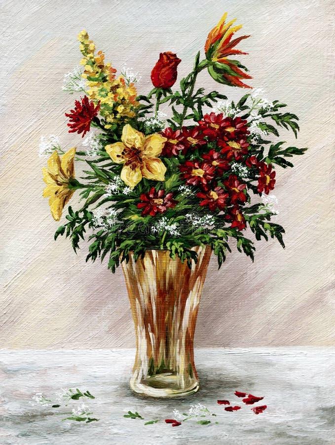 Groupe de fleurs dans un vase en verre illustration de vecteur