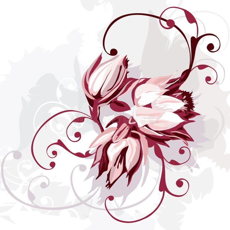 Groupe de fleurs pourprées illustration de vecteur