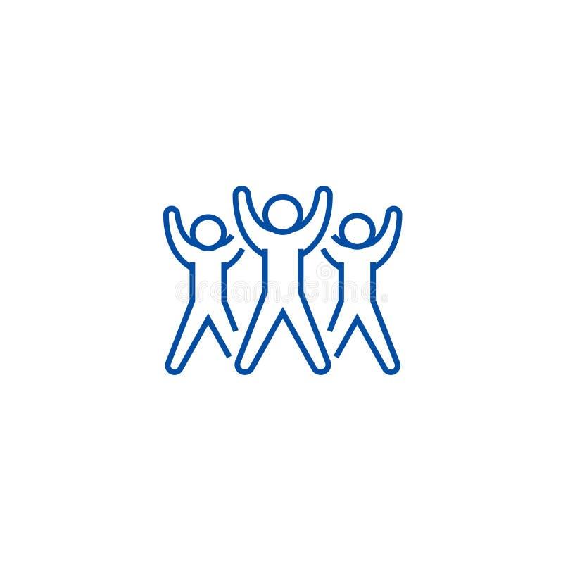 Groupe de forme physique, ligne concept d'aérobic d'icône Groupe de forme physique, symbole plat de vecteur d'aérobic, signe, ill illustration stock
