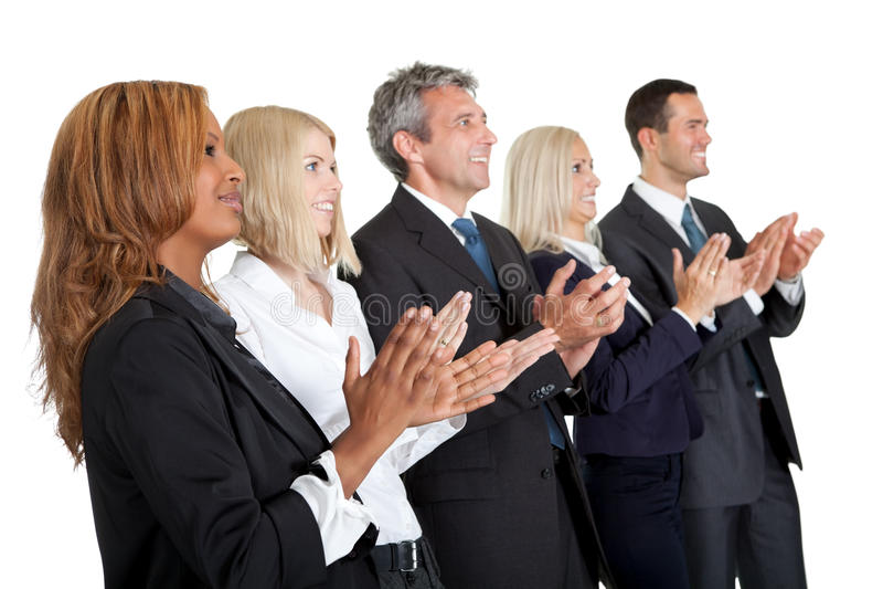 Groupe de gens d'affaires applaudissant sur le blanc images stock