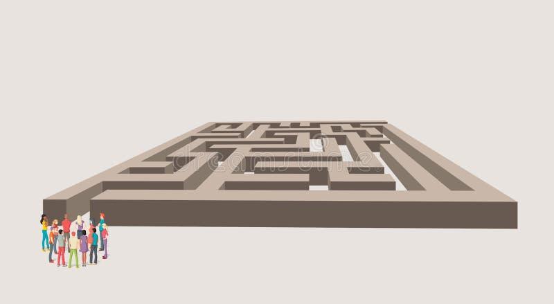 Groupe de gens d'affaires choisissant la bonne voie d'un labyrinthe illustration libre de droits