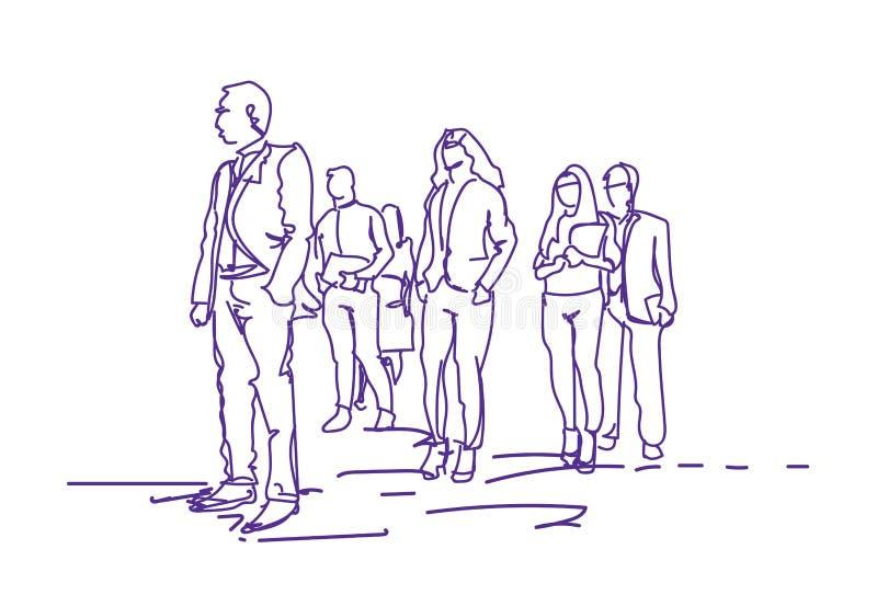 Groupe de gens d'affaires marchant, fond de blanc de Team Of Office Workers On d'hommes d'affaires de griffonnage illustration libre de droits