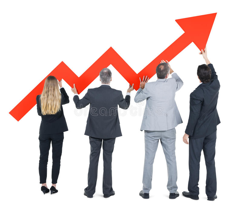 Groupe de gens d'affaires sur la reprise économique images stock