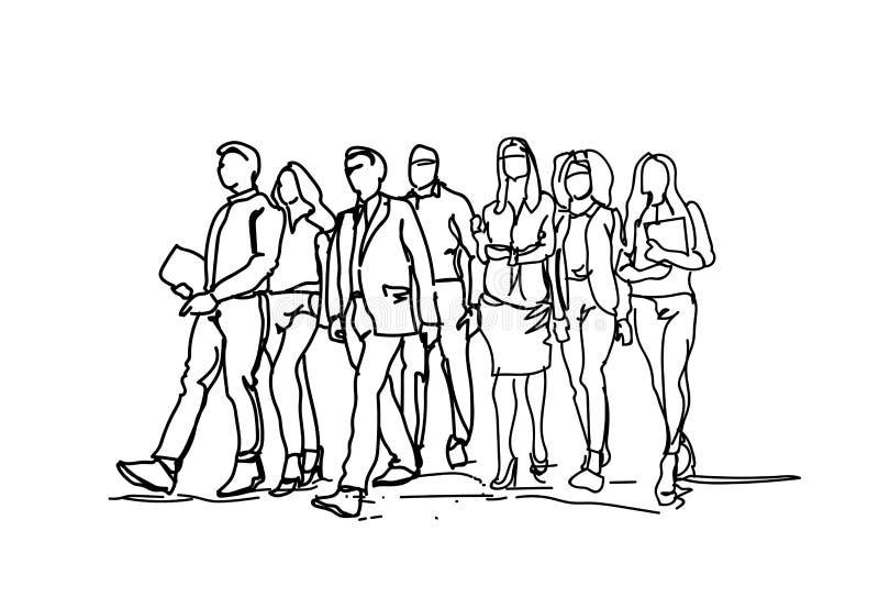 Groupe de gens d'affaires tirés par la main marchant en avant, fond de Team Of Professionals On White d'hommes d'affaires de croq illustration libre de droits